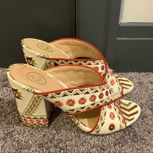 ASH Embroidered Mules, Size 8